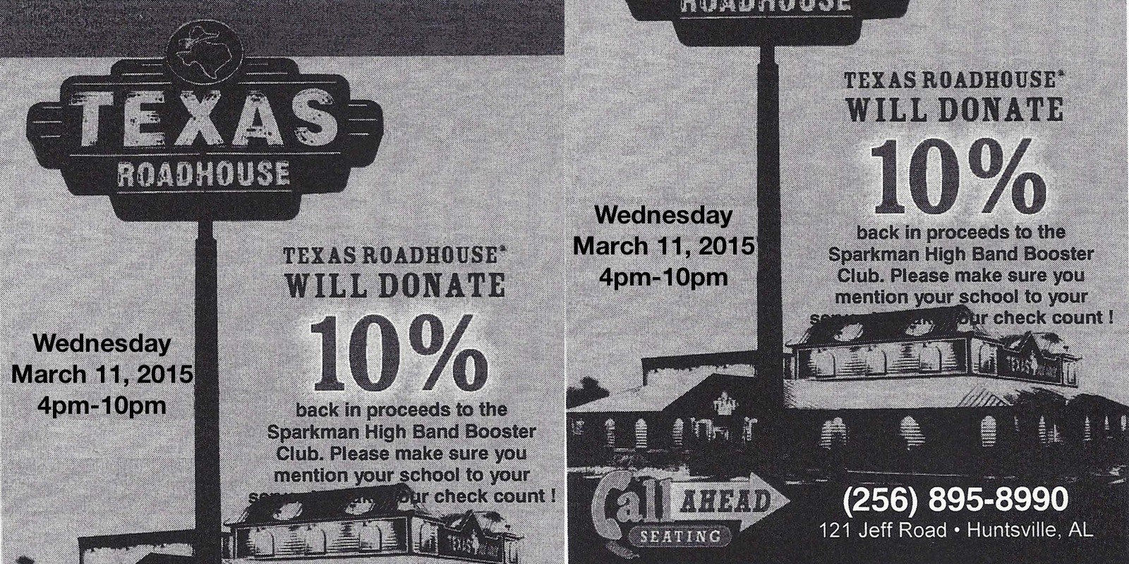 Texas Roadhouse Supports SHS Band